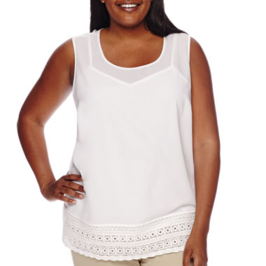 jcpenney.com | Liz Claiborne® Sleeveless Lace Shell - Plus