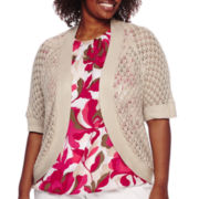 Liz Claiborne® Elbow-Sleeve Crochet Shrug - Plus