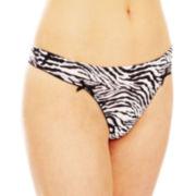 Flirtitude® Ruched Microfiber Thong Panties