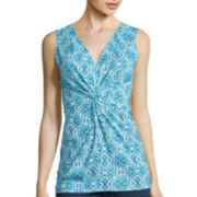 St. John's Bay® Sleeveless Twist-Front Top