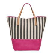 Lilac + Black Striped Canvas Beach Tote