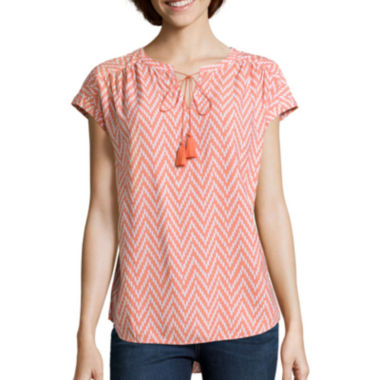 jcpenney.com | St. John's Bay® Short-Sleeve Tie-Front Peasant Shirt - Tall