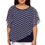 Alyx® Short-Sleeve Print Popover Blouse - Plus