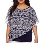 Alyx® Short-Sleeve Print Popover Blouse - Plus