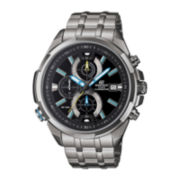 Casio® Mens Silver-Tone Multifunction Chronograph Watch