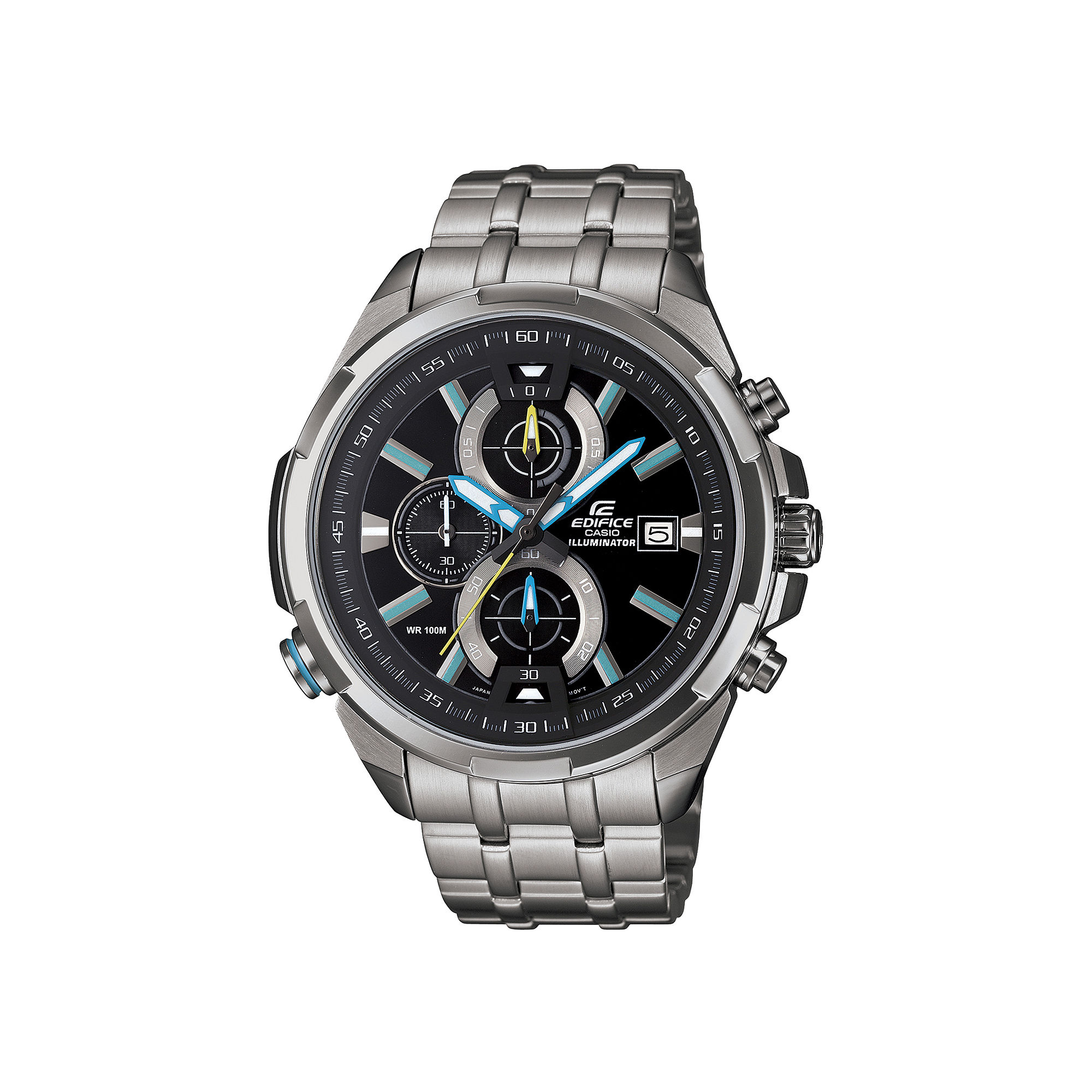 Casio Mens Silver-Tone Multifunction Chronograph Watch EFR536D-1A2V