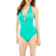 a.n.a® Shirred Halter Hipster 1-Piece Swimsuit