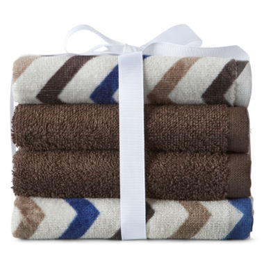 jcpenney.com | Home Expressions™ Circles 4-pk. Washcloth Set