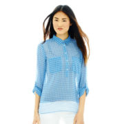 Joe Fresh™ Long-Sleeve Print Popover Blouse