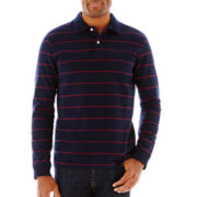 St. John's Bay® Sueded Striped Long-Sleeve Polo