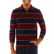 St. John's Bay® Striped Long-Sleeve Polo