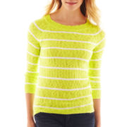 jcp™ 3/4-Sleeve Striped Textured Sweater
