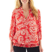Zac & Rachel® 3/4-Sleeve Smocked Print Blouse - Plus