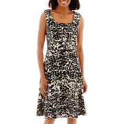 Black Label by Evan-Picone Sleeveless Scoopneck Fit-and-Flare Dress