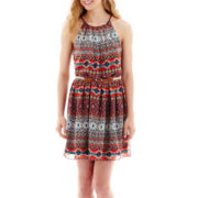 by&by Sleeveless Batik Halter-Neck Dress
