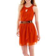 by&by Sleeveless Solid Gauze Belted Halter-Neck Dress