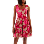 J. Taylor Sleeveless V-Neck Pleated Floral Print Scuba Knit Dress