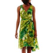 J. Taylor Sleeveless V-Neck Chiffon Wrap Dress