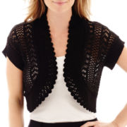 Perceptions Short-Sleeve Crochet Shrug