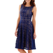 Danny & Nicole® Sleeveless Crochet Fit-and-Flare Dress
