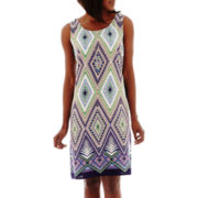 R&K Originals® Sleeveless Print Dress with Necklace