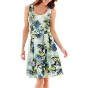 Danny & Nicole® Sleeveless Tropical Print Scuba Fit-and-Flare Dress