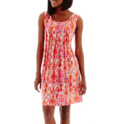 RN Studio by Ronni Nicole Sleeveless Blurry Ikat Print Shift Dress