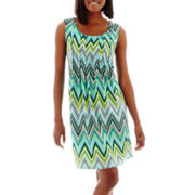 RN Studio by Ronni Nicole Sleeveless Chevron Print Shift Dress