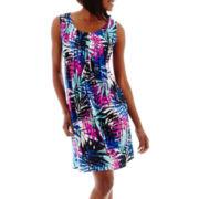 RN Studio by Ronni Nicole Sleeveless Tropical Palm Print Shift Dress