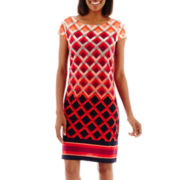 Jessica Howard Cap-Sleeve Geo-Print Shift Dress