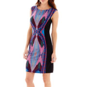 RN Studio by Ronni Nicole Sleeveless Aztec Multi Print Sheath Dress