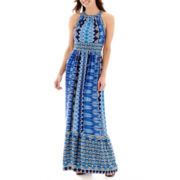 Ronni Nicole Sleeveless Knit Multi Print Maxi Dress