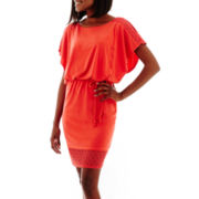 Sangria Dolman-Sleeve Belted Blouson Dress with Crochet Lace Detail
