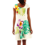 Danny & Nicole® Cap-Sleeve Tropical Print Scuba Fit-and-Flare Dress