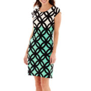 R&K Originals® Cap-Sleeve Geo Print Sheath Dress