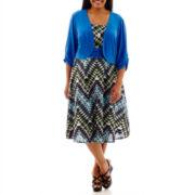 Perceptions Chevron Print Knit Jacket Dress - Plus