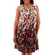 Perceptions Floral Print Pleat-Front Sheath Dress - Plus