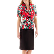 Le Suit® Short-Sleeve Print Shantung Notch Collar Jacket and Solid Skirt