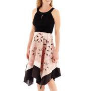 Melrose Sleeveless Scarf Print Dress