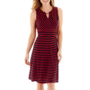 Liz Claiborne® Keyhole Bar-Neck Striped Flare-and-Flare Dress