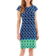Liz Claiborne® Short-Sleeve Square Print Knit Border Shift Dress
