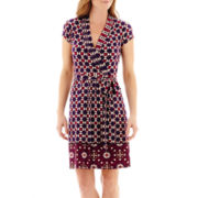 Liz Claiborne® Short-Sleeve Belted Wrap Dress