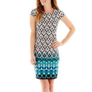 Liz Claiborne® Cap-Sleeve Geo-Print Shift Dress