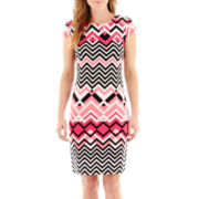 Liz Claiborne® Cap-Sleeve Chevron Print Shift Dress