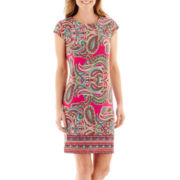 R&K Originals® Cap-Sleeve Paisley Print Shift Dress