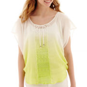 by&by Short-Sleeve Dip-Dyed Crochet Gauze Top