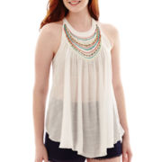 by&by Sleeveless Beaded-Neck Gauze Trapeze Top