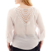 by&by 3/4-Sleeve Crochet-Back Gauze Peasant Top - Plus