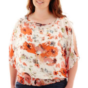 by&by Short-Sleeve Print Chiffon Cold-Shoulder Top - Plus