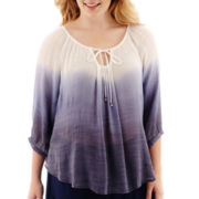 by&by 3/4-Sleeve Silky Gauze Peasant Top - Plus